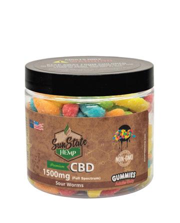 CBD Full Spectrum Gummy Sour Worms 16oz 1500mg