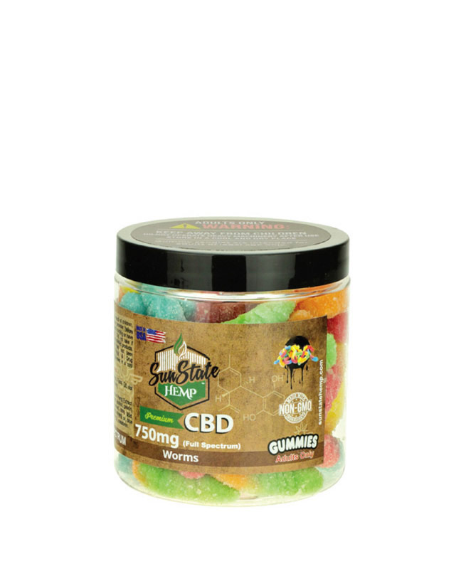 Gummy Full Spectrum Sour Worms 750mg | Sun State Hemp