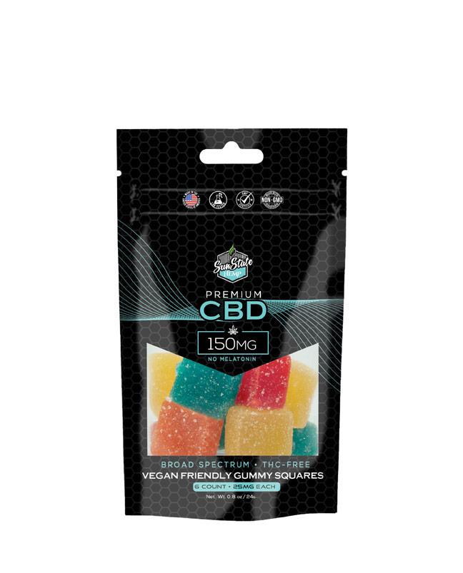 CBD Broad Spectrum Gummy Pectin Infused Squares 6pc Bag 150mg