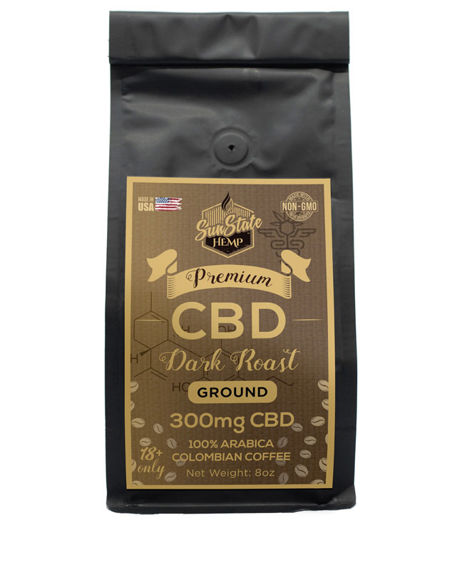 Ground Coffee Dark Roast 8oz 300mg | Sun State Hemp