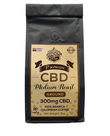 Ground Coffee  Medium Roast 8oz 300mg | Sun State Hemp