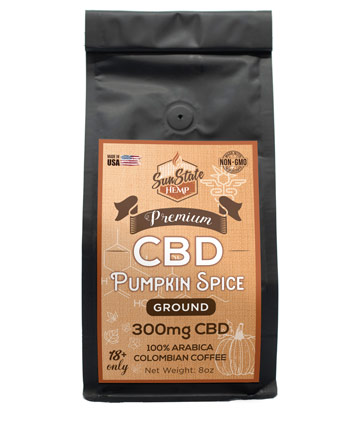 Ground Coffee Pumpkin Spice 8oz 300mg | Sun State Hemp
