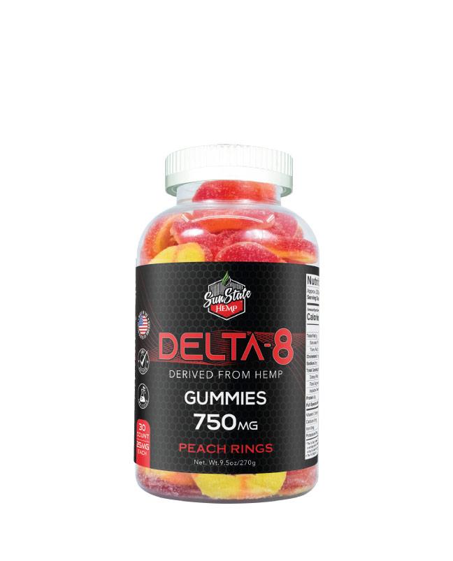 Delta 8 Gummy Peach Rings 30ct 750mg