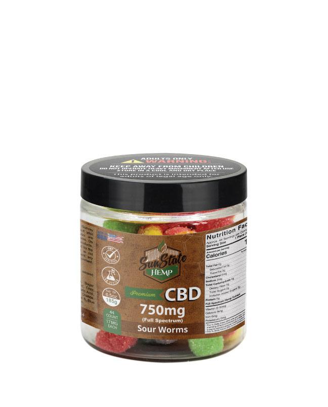 CBD Full Spectrum Gummy Sour Worms 8oz 750mg