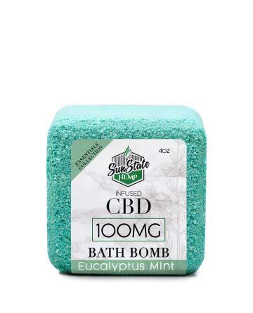 CBD Essential Oil Collection Bath Bombs Eucalyptus Mint 4oz 100mg | Sun State Hemp