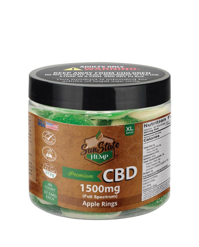 CBD Full Spectrum Gummy Apple Rings 16oz 1500mg