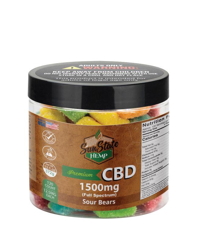 CBD Full Spectrum Gummy  Sour Bears 16oz 1500mg