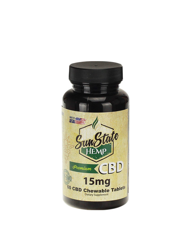 Chewable CBD Tablets 15mg - 60pcs | Sun State Hemp
