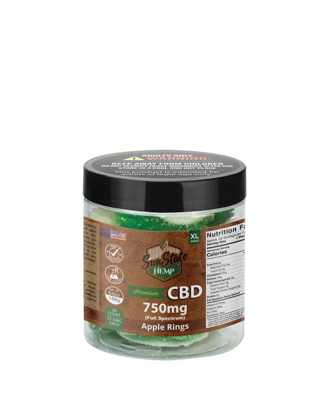 CBD Full Spectrum Gummy Apple Rings 8oz 750mg