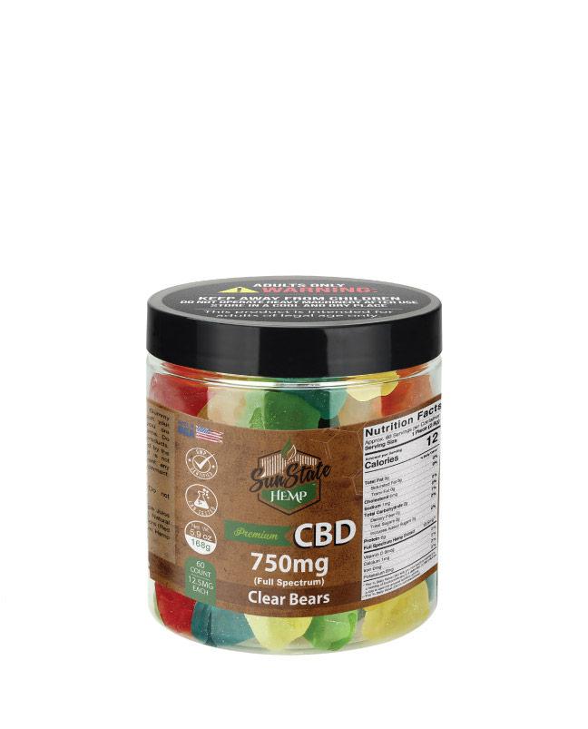 CBD Full Spectrum Gummy Clear Bears 8oz 750mg