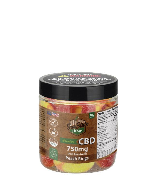 CBD Full Spectrum Gummy Peach Rings 8oz 750mg
