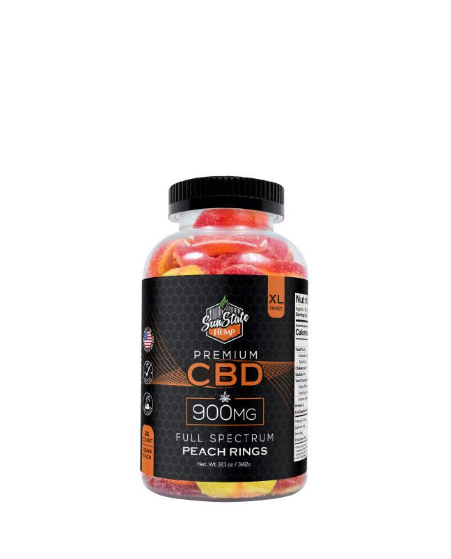 CBD Full Spectrum Gummy Peach Rings 900mg, 1800mg
