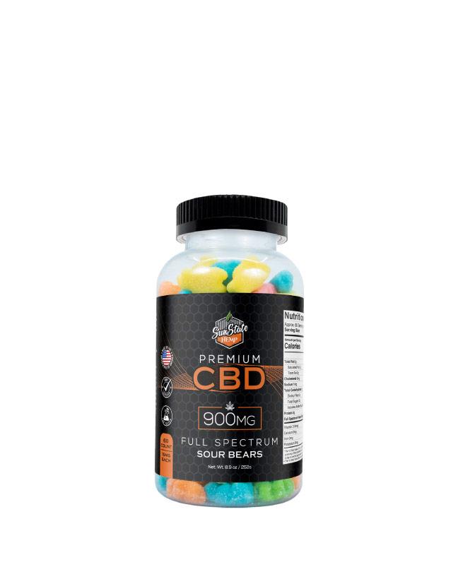 CBD Full Spectrum Gummy Sour Bears  900mg, 1800mg