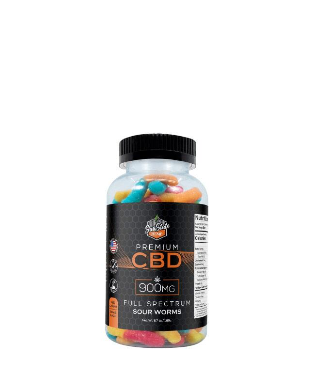 CBD Full Spectrum Gummy Sour Worms  900mg, 1800mg