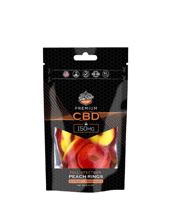 CBD Full Spectrum Gummy Peach Rings 6pc Bag 150mg
