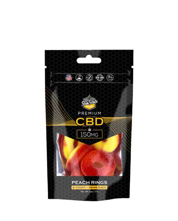 CBD Gummy Peach Rings 6pc Bag 150mg