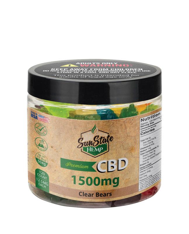 CBD Gummy Clear Bears 16oz 1500mg