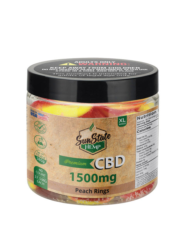 CBD Gummy Peach Rings 16oz 1500mg