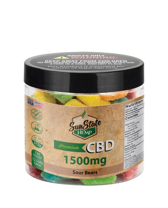 CBD Gummy Sour Bears 16oz 1500mg