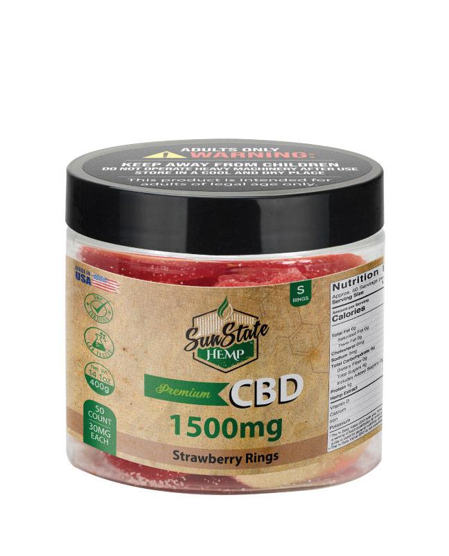CBD Gummy Strawberry Rings 16oz 1500mg