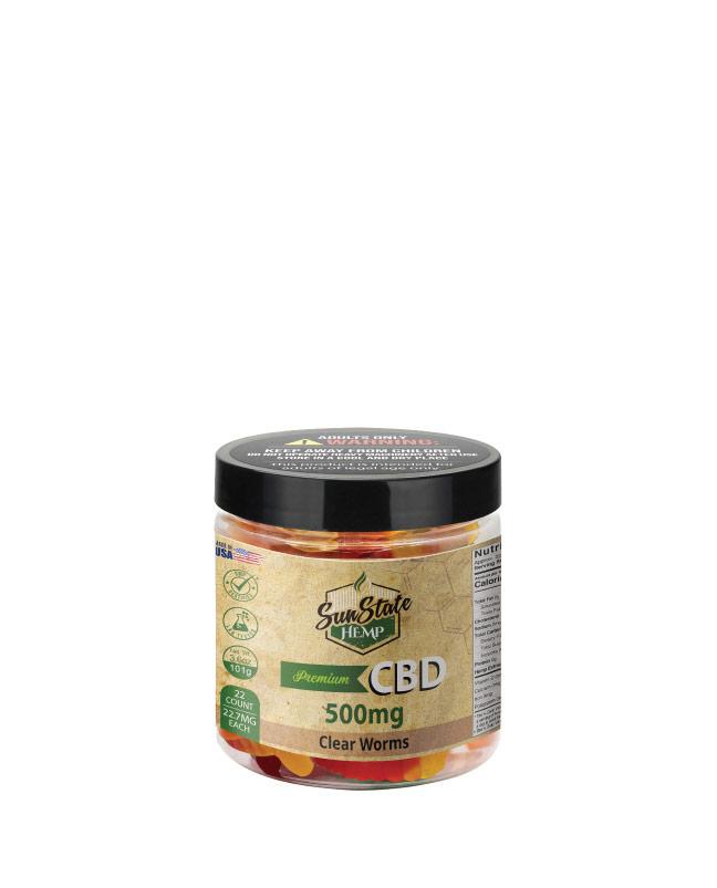 CBD Gummy Clear Worms 4oz 500mg