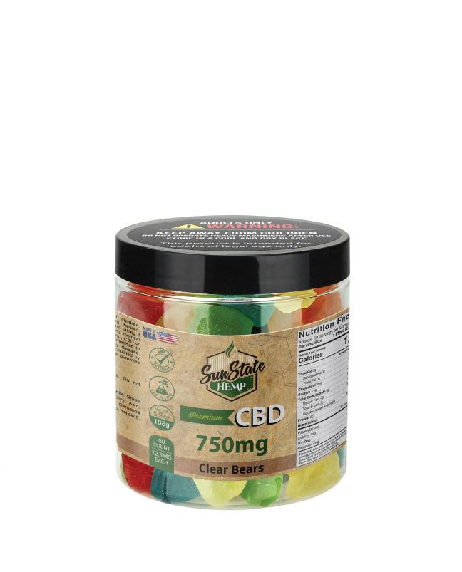 CBD Gummy Clear Bears 8oz 750mg