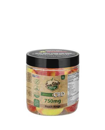CBD Gummy Peach Rings 8oz 750mg | Sun State Hemp