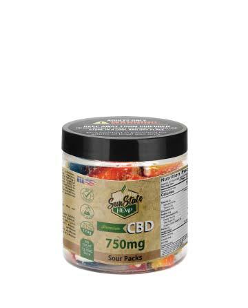 CBD Gummy Sour Packs 8oz 750mg | Sun State Hemp