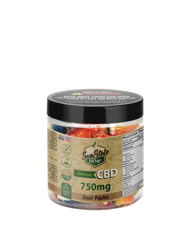 CBD Gummy Sour Packs 8oz 750mg