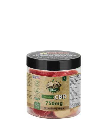 CBD Gummy Strawberry Rings 8oz 750mg | Sun State Hemp