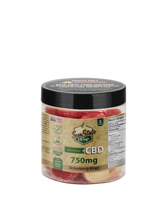 CBD Gummy Strawberry Rings 8oz 750mg