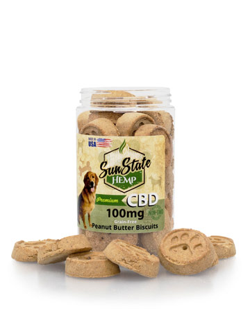 Pet Treats Grain-Free Peanut Butter Biscuits 100mg / 200mg | Sun State Hemp