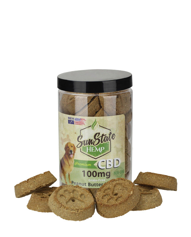 Pet Treats Grain-Free Peanut Butter Biscuits 100mg / 200mg | Sun State Hemp
