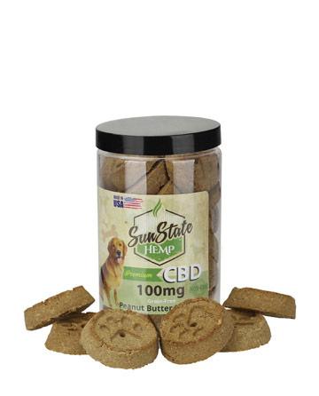 Pet Treats Grain-Free Peanut Butter Biscuits 100mg | Sun State Hemp