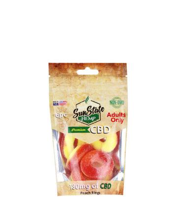 Bag Gummy Peach Rings 180mg - 6pc   Sun State Hemp