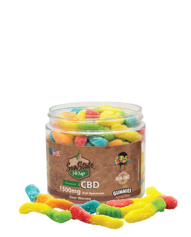Full Spectrum Gummy Worms 1500mg | Sun State Hemp