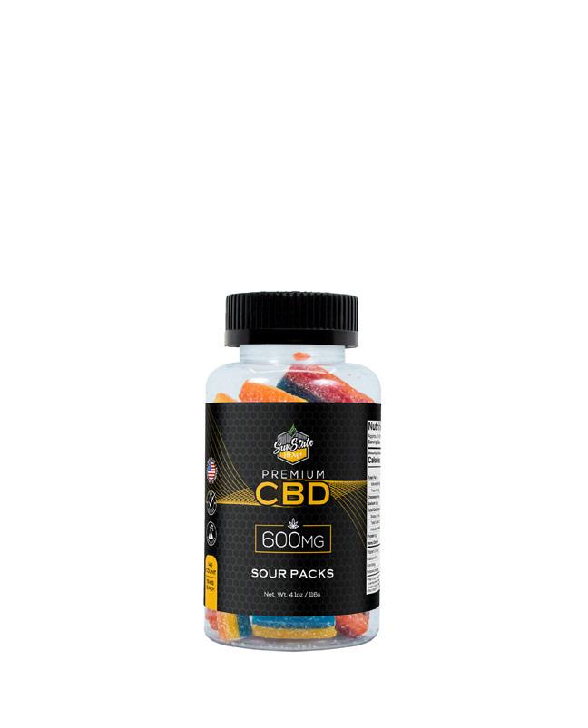 CBD Gummy Sour Packs 600mg, 1200mg, 1800mg