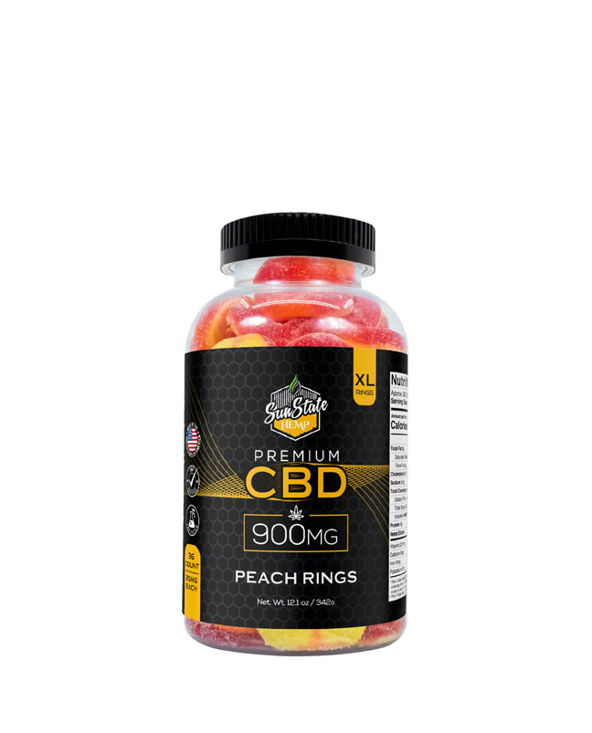 CBD Gummy Peach Rings 900mg, 1800mg