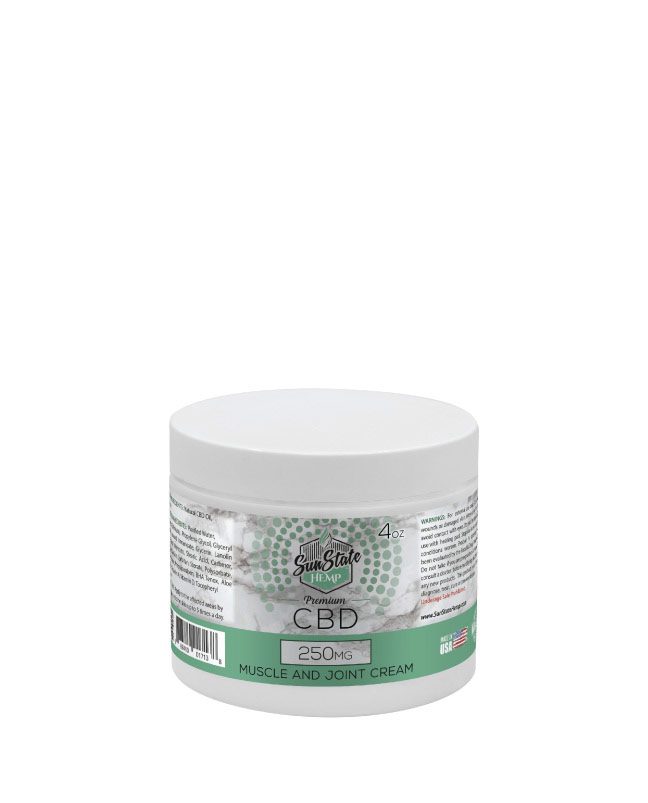 Muscle and Joint Cream 4oz 100mg / 250mg / 500mg | Sun State Hemp