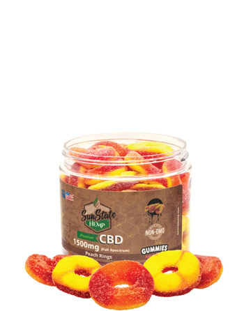 Full Spectrum Gummy Peach Rings 1500mg | Sun State Hemp