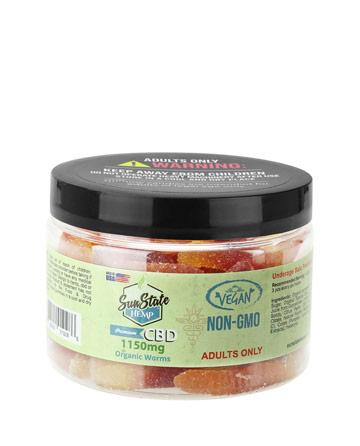 Organic Gummy Worms (Vegan) 1150mg | Sun State Hemp