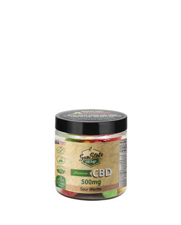 CBD Gummy Sour Worms  4oz 500mg | Sun State Hemp