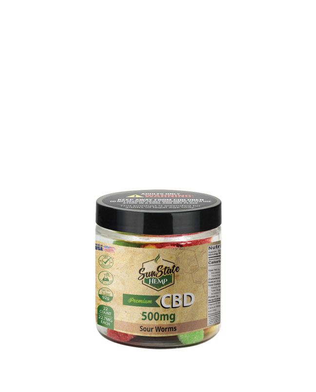 CBD Gummy Sour Worms  4oz 500mg
