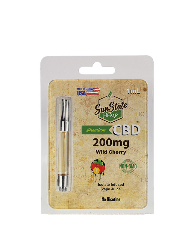 Pre-Filled 1ml Cartridge - Wild Cherry 200mg | Sun State Hemp